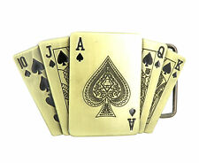 Royal Flush Spades Poker Casino Bronze Lighter Holder Belt Buckle