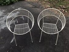 Vintage Retro Eames Era Mid-Century Modern ROUND Iron Patio Chairs
