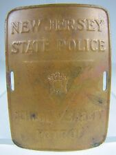Old New Jersey State Police School Safety Patrol Brass Bronze Sign Badge
