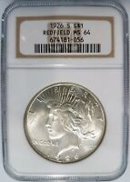 1926 S Silver Peace Dollar NGC MS 64 Redfield Hoard Collection Pedigree Bag Coin