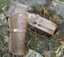 Hand Tooled Leather Holster and Cartridge Belt Chocolate Brown 45 cal 70215