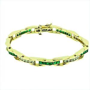 14 Kt Yellow Gold Natural Emerald & Diamond Tennis Bracelet 4.50 TGW  20.41 Gms