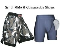 MERAKI MMA Shorts Compression VALE TUDO Short UFC Muay Fight Thai Boxing Short