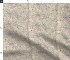 Trails Roads Maps Traveling States Antique Map Spoonflower Fabric by the Yard