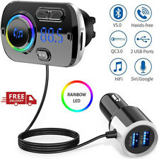 More details for wireless bluetooth 5.0 car fm transmitter radio kit mp3 player aux handsfree usb