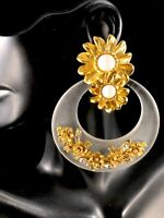 RUNWAY GOLDTONE CABOCHON RHINESTONE FROSTED LUCITE HOOP FLORAL CLIP EARRINGS