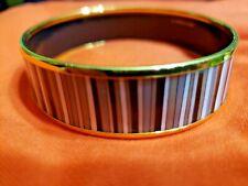 Vintage Hermes Gold-trimmed Striped Enamel Bracelet/Bangle 'Excellent Condition'