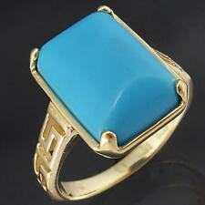 Dressy Solid 14k Yellow GOLD TURQUOISE BLUE RECTANGULAR CABOCHON RING Sz O1/2