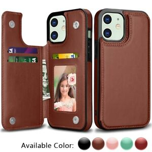 iPhone 11 12 Pro Max Wallet Case Card Money Holder Leather Flip Cover for Apple