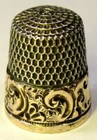 "Antique Simons Bros. Gold Band Sterling Silver Thimble ""Chased Scroll"" C1880s"