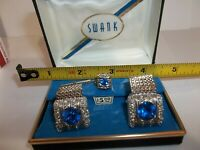 Vintage SWANK - BLUE SAPPHIRE FACETED GLASS MESH Wrap Cuff Links & Tie Tack Set