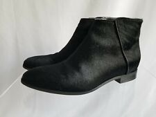 Nine West Pony Calf Hair Black Leather Pointed Toe Bootie Ankle Boot US 7.5