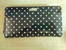 Kate Spade Women's Wallet Black & White Polka Dot Patent Zip Around Clutch