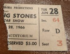 Rolling Stones 1966 Concert Ticket Stub Buffalo Memorial Auditorium