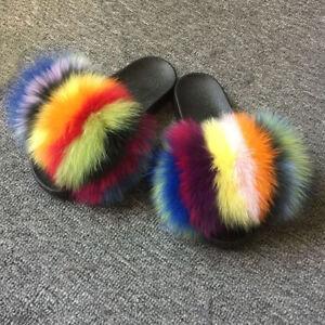 Luxury Flat Slides Fluffy Big Fox Fur Slippers Raccoon Fur Sandal Shoes Womens