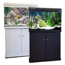 Aquarium Fish Tank Black Cabinet Stand Filter Pump LED Light 10L 35L 70L 100L