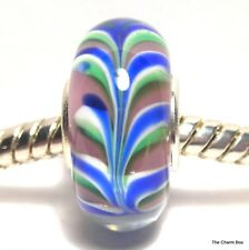 'BLUSH FEATHER' Pink/Blue/Green Murano Glass European Charm Bead -Single Core