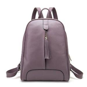 New Women Genuine Real Cow Leather Backpack Tassel zipper Travel Bag handbag