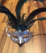Venetian Masquerade Mask Feathers Silver Metal Diamante Ball Halloween