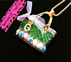 Betsey Johnson Easter Egg Opal Purse Gold Pendant Chain Necklace Free Gift Bag