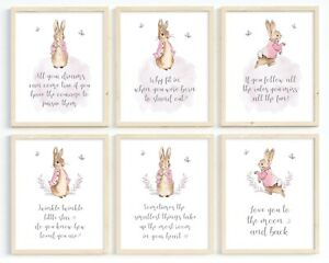 Peter Rabbit Girls Nursery Prints, Kids Print Poster Pictures Room Decor