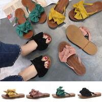 Women Summer Espadrilles Bow Beach Flip Flops Flat Sandals Slippers Comfy