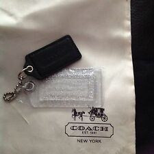 SET Coach Acrylic Clear Silver Glitter XL , Black Patent L Keychain Fob Hangtags