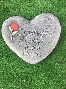 Grandaughter Always In Our Hearts, Memorial Stone Heart Garden Ornament