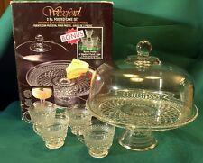 Vintage Anchor Hocking - Wexford - Footed cake set / Punch bowl w bonus cups