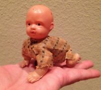 Vintage Plastic Blow Mold Wind Up Crawling Baby Doll Made in Japan