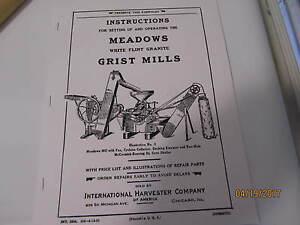 1923 International Harvester Meadows Grist Mill Instruction/Parts manual