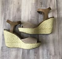 Dolce Vita Womens Brown Leather Wedge Espadrille Sandals Size 8.5