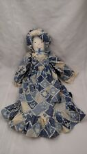Vintage Handmade Plush Doll-Blue/ White Country Inspired Dress Matching Bonnet