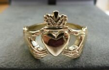 9ct Solid Gold Claddagh Ring Size X -   Heavy - 7.8 grams