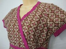 Koi Kathy Peterson Scubs Top Shirt XS Brown Pink Hearts Butterflies V-Neck