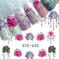 5 Sheets 3D DIY Nail Art Transfer Sticker Flower Decals Manicure Decoration Tips