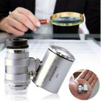 60x LED Mini Jeweler Light Pocket Microscope Jewelry Magnifier Loupe Glass New