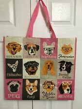 NEW TJ Maxx Shopping Bag Dogs with Glasses Reusable Travel Tote