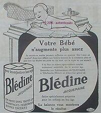PUBLICITE BLEDINE JACQUEMAIRE ALIMENT POUR BEBE BALANCE DE 1924 FRENCH AD PUB