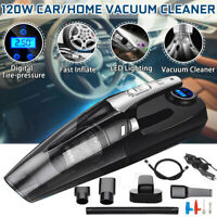 4-in-1 Car Handheld Vacuum Cleaner with Digital Tire Inflator Pump Pressure 120W