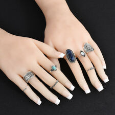Set of 7 Fashion Retro Handmade Vintage Boho Style Flower Rings Jewelry Gift