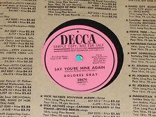 """DOLORES GRAY Big Mamou/ Say You're Mine Again PROMO 10"""" 78 Decca 28676 vg+"""