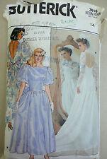 Butterick 3616 Wedding Gown Dress Bridesmaid Evening Sewing Pattern 1986 sz 14