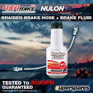 Front Braided LH or RH Brake Hose + Nulon Fluid for Nissan Patrol GQ - GU 96-97