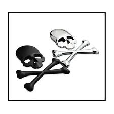 3D Black Skull n Cross Bones Logo Emblem Sticker Decal Real Metal -Not Plastic-