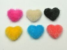 50 Mixed Color Flatback Plush Covered Buttons 16mm Heart Cabochon for DIY