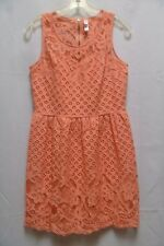 Xhilaration Womens Lacey Peach Sun Dress size L 10/12  summer casual party