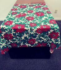 """Very Pretty Table Cloth Christmas Poinsettia  51 x 54.5"""" Table Cloth EUC"""