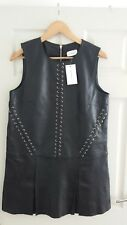 Women's ANOTHER EIGHT SPECTOR leather dress black color size UK 12 BNWT