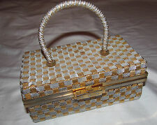vintage DELILL silver and gold metal woven box style designer purse bag ITALY